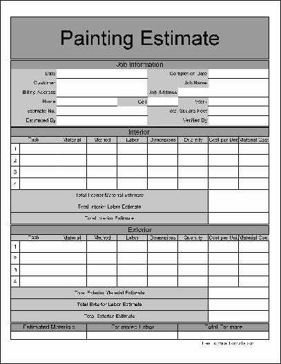 Painting Estimate Template Free Downloads Beautiful Free Wide Numbered Row Painting Estimate form From formville