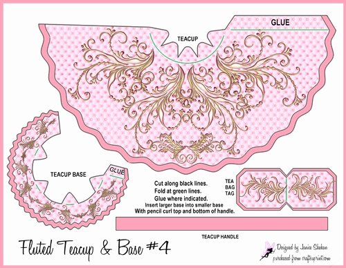 Paper Tea Cup Template Beautiful Gorgeous Pink Gold and Flowers Teacup Tea Cup Favor Bag