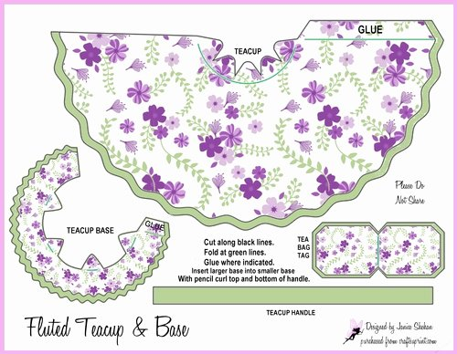 Paper Teacup Template New Teacup Tea Cup Favor Box 1 Cup 2049