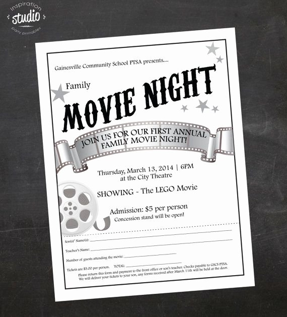 Parents Night Out Flyer Template Beautiful Custom Printable Family or Mother son Movie by
