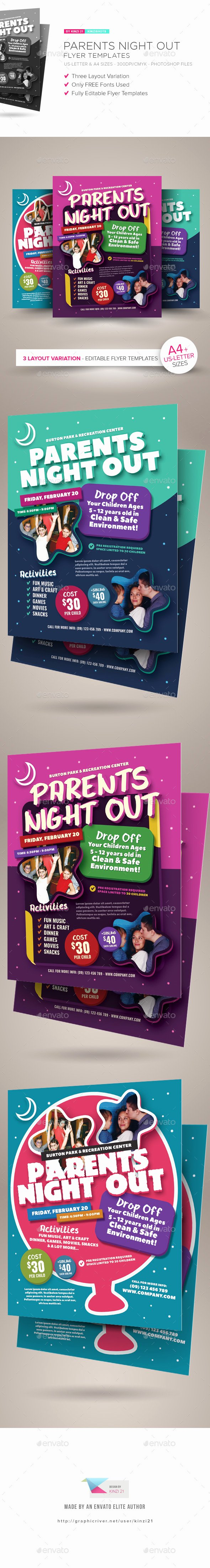 Parents Night Out Flyer Template Beautiful Parents Night Out Flyer Templates by Kinzishots