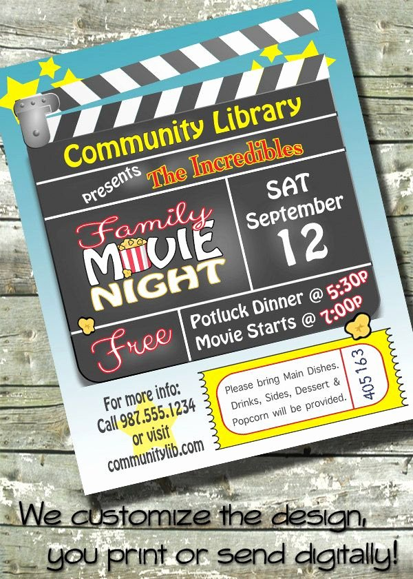 Parents Night Out Flyer Template Elegant Family Outdoor Movie Night Birthday Party Church