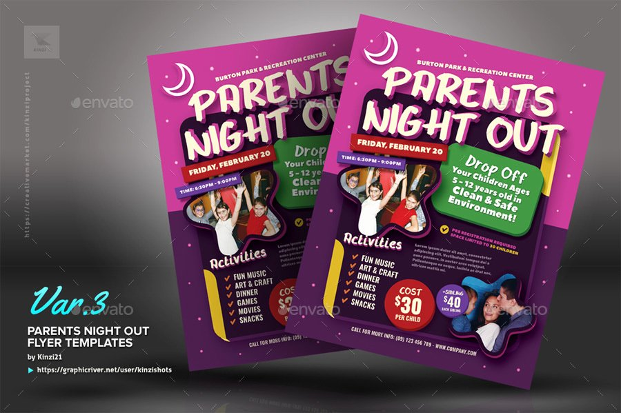 Parents Night Out Flyer Template Inspirational Parents Night Out Flyer Templates by Kinzishots