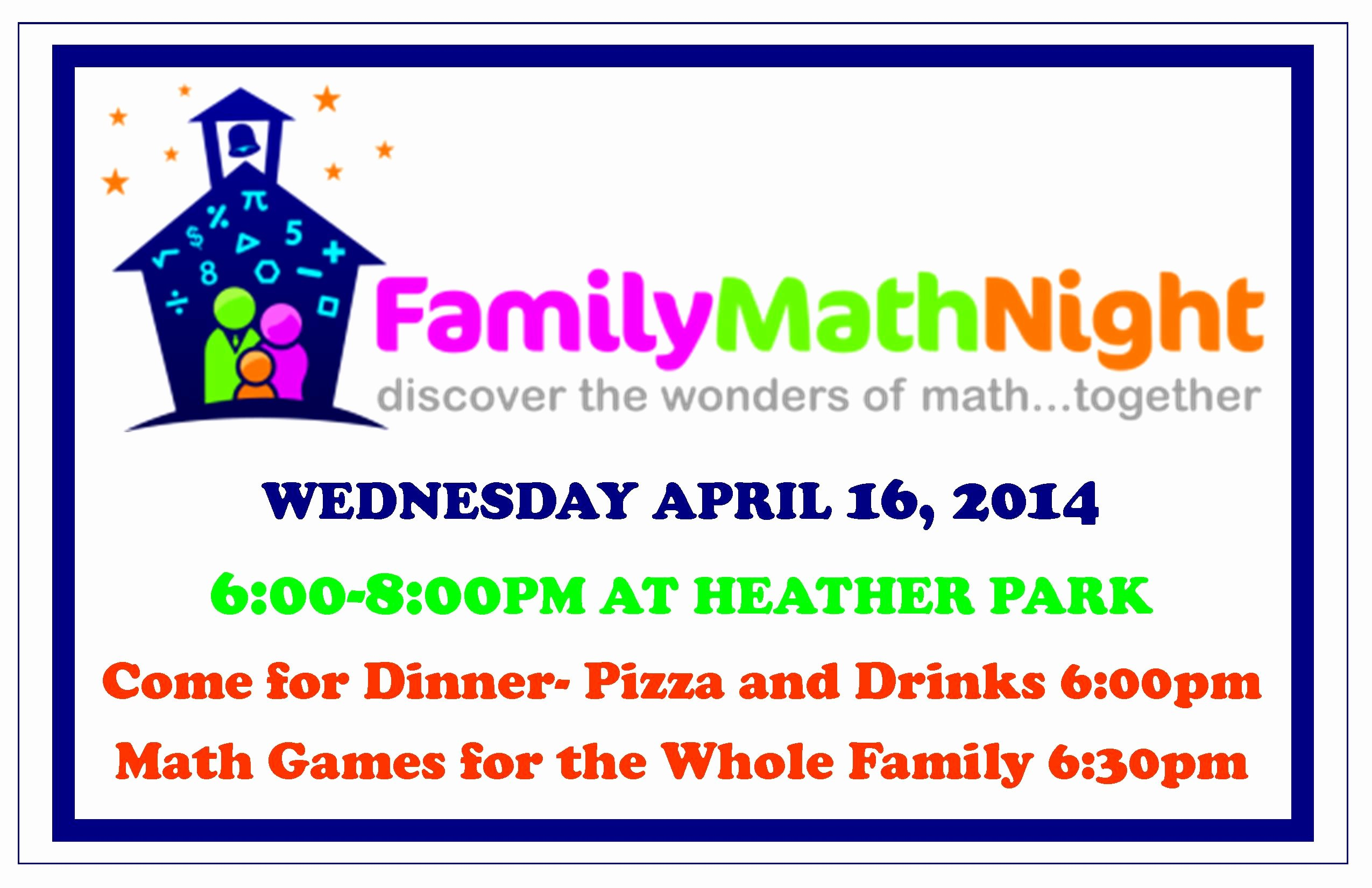 Parents Night Out Flyer Template Lovely Family Math Night at Heather Park School Wednesday April