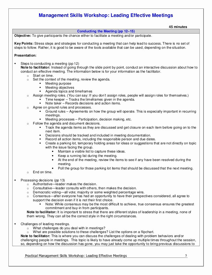 Participant Guide Template Lovely Leading Effective Meetings Facilitator Guide