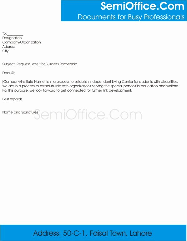 Partnership Letter Sample Awesome Request Letter for School Business Partnership