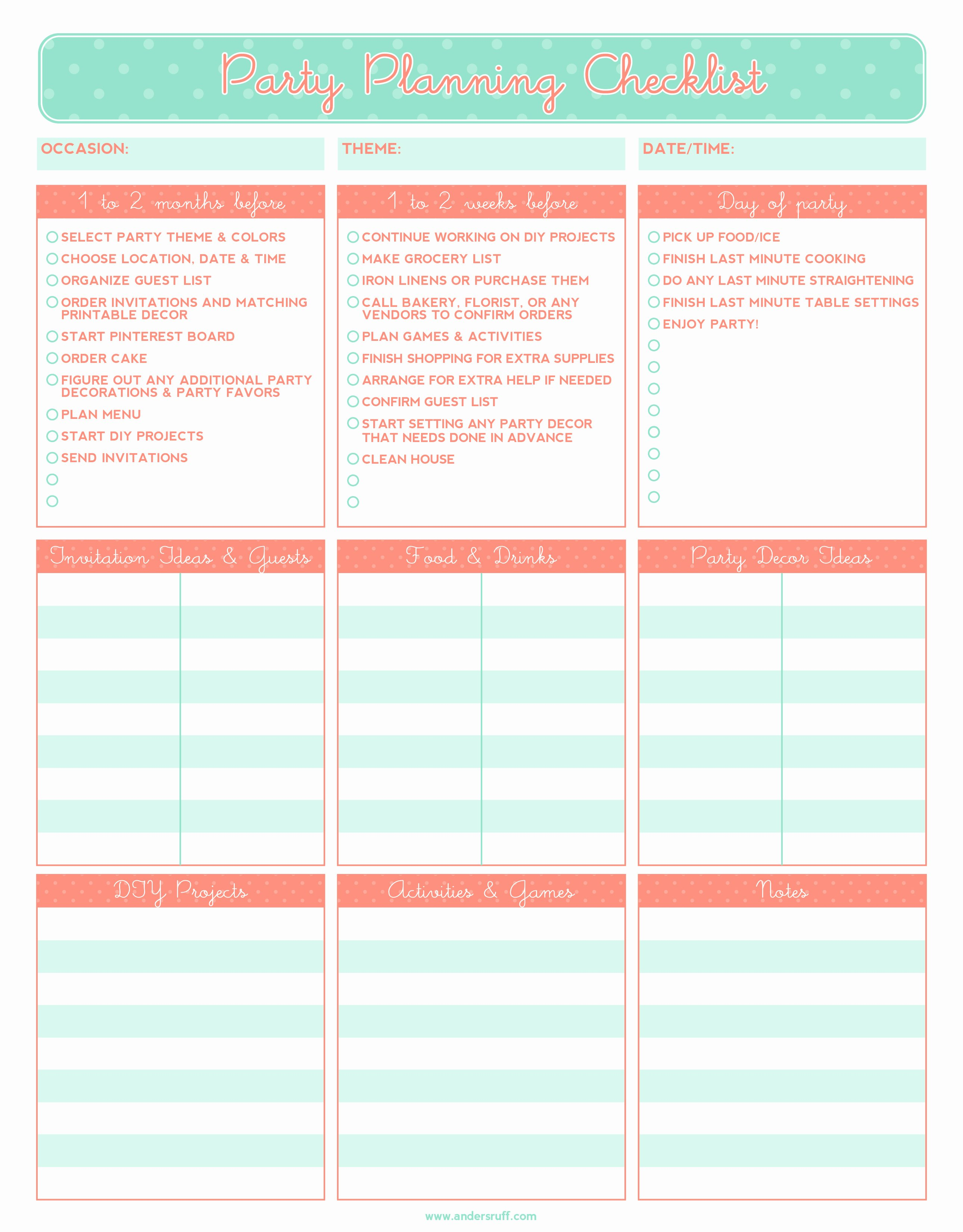 Party Agenda Template Elegant 5 Party Planning Templates Excel Xlts