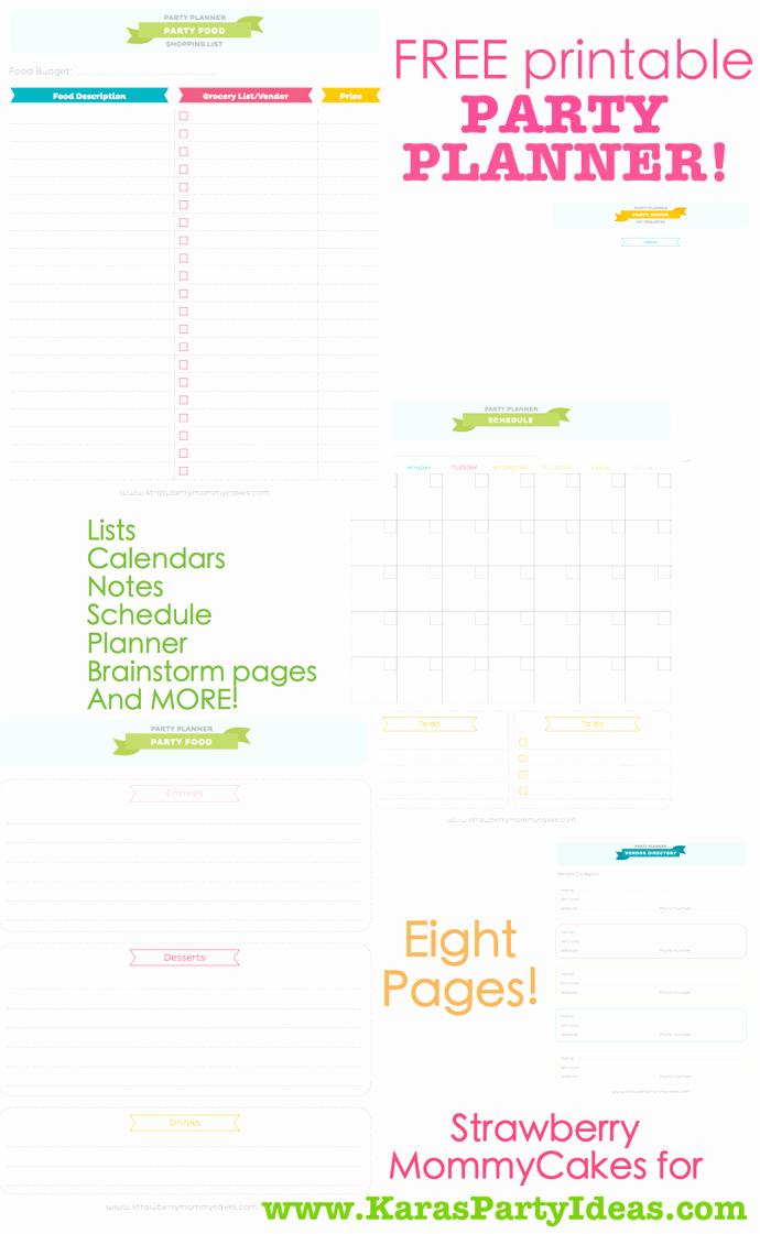 Party Agenda Template Unique Kara S Party Ideas Free Printable Party Planner