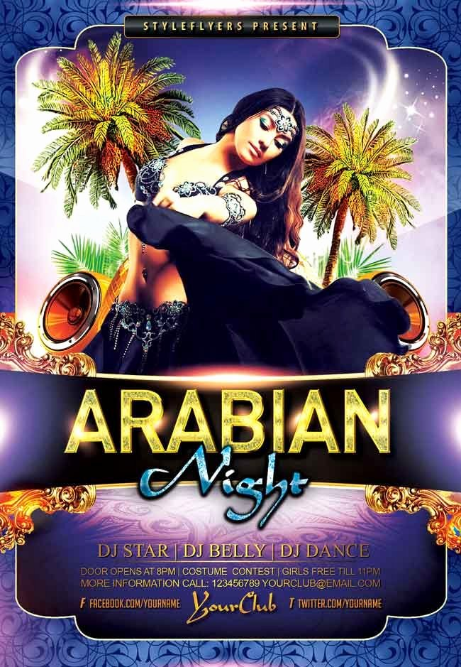 Party Poster Ideas Luxury Arabian Night Party Psd Flyer Free