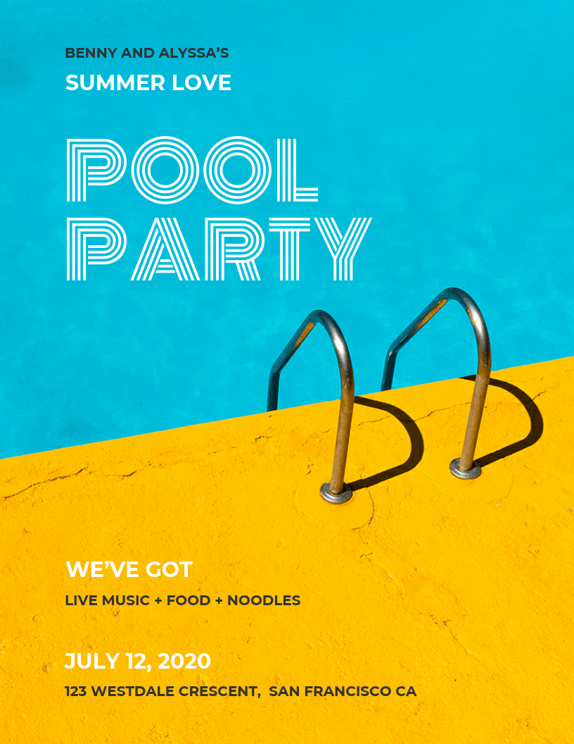 Party Poster Ideas Luxury Colorful Modern Pool Party event Poster Idea Venngage