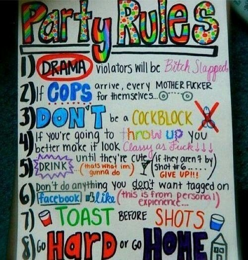 Party Poster Ideas New Party Rules Poster Adult Party Ideas