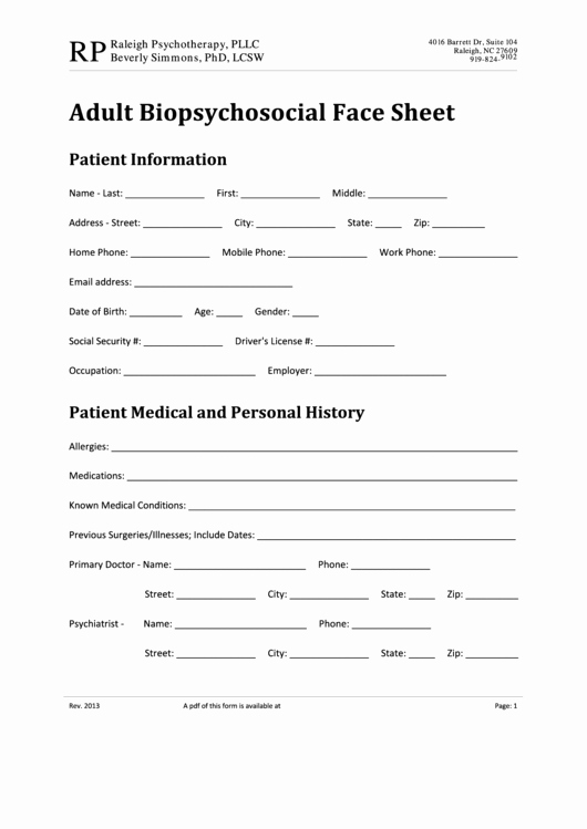 Patient Face Sheet Template Fresh top 20 Medical Face Sheets Free to In Pdf format