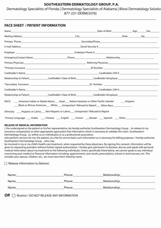 Patient Face Sheet Template Luxury Face Sheet Patient Information Template Printable Pdf