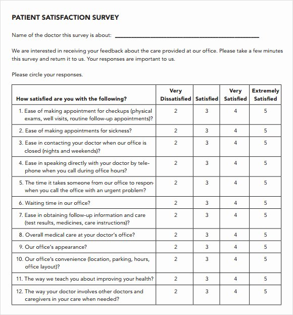 Patient Feedback form Awesome Patient Satisfaction Survey 9 Download Free Documents