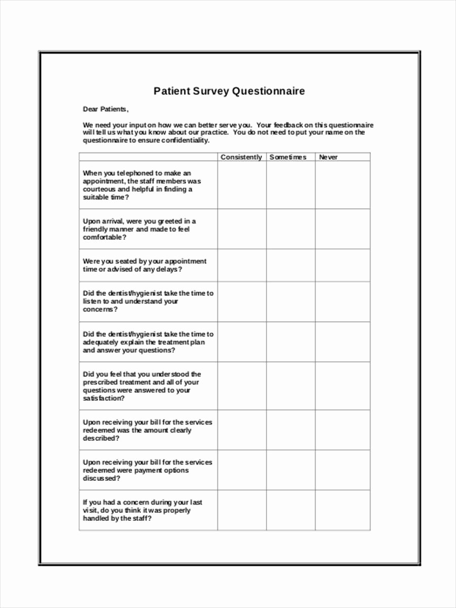 Patient Feedback form Fresh 6 Patient Satisfaction Questionnaire form Sample Free