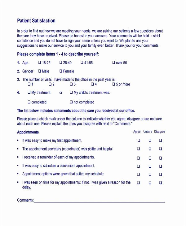 Patient Feedback form Inspirational 7 Patient Feedback form Samples Free Sample Example