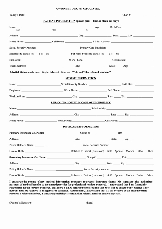 Patient Information form Template Awesome Patient Information Template Printable Pdf