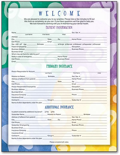 Patient Information form Template Awesome Wel E and History forms for New Dental Patients