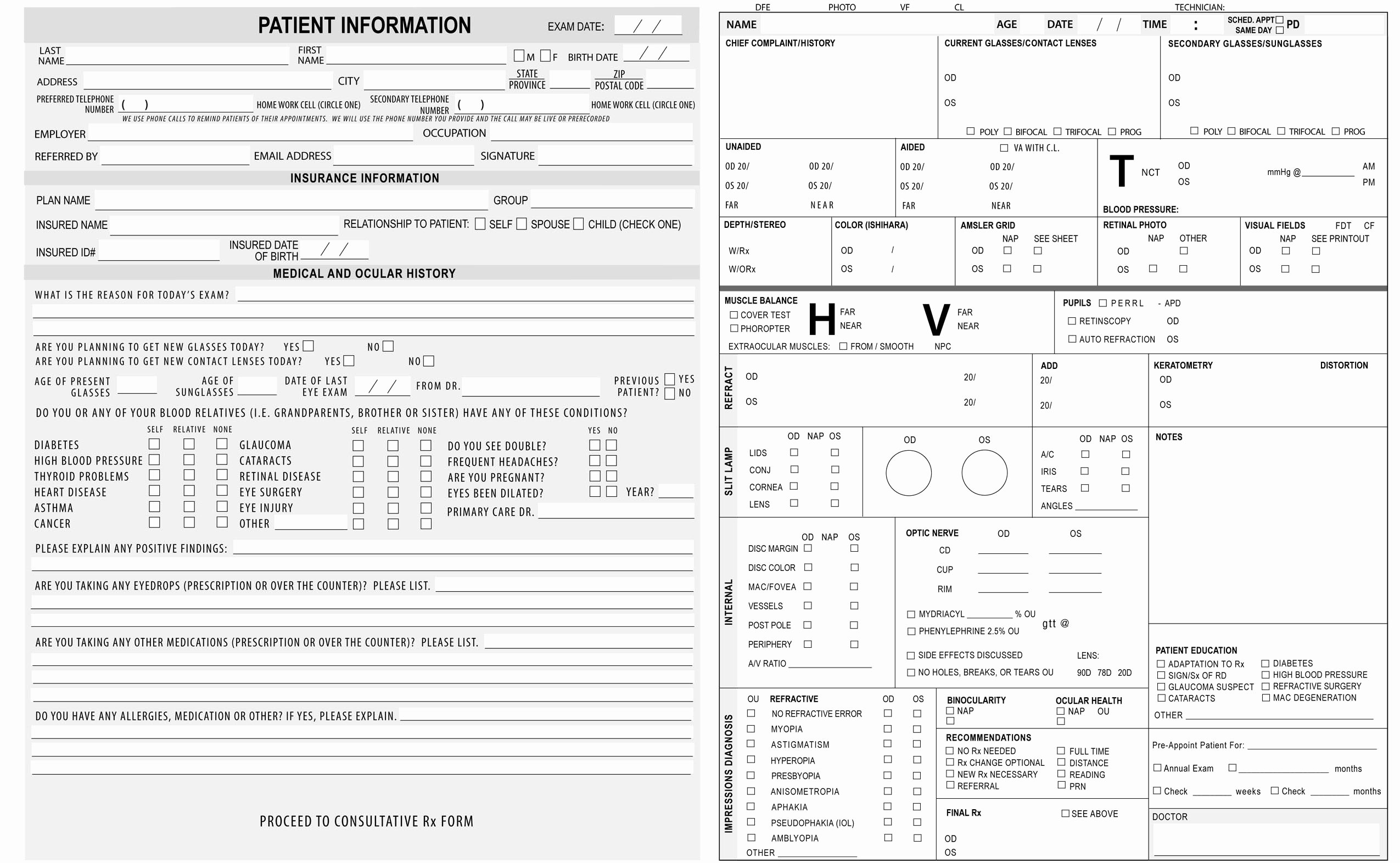 Patient Information form Template Best Of Keskes Printing Optometrists