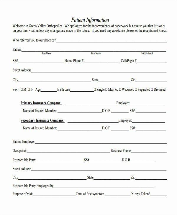 Patient Information form Template Fresh 46 Information Sheet Samples