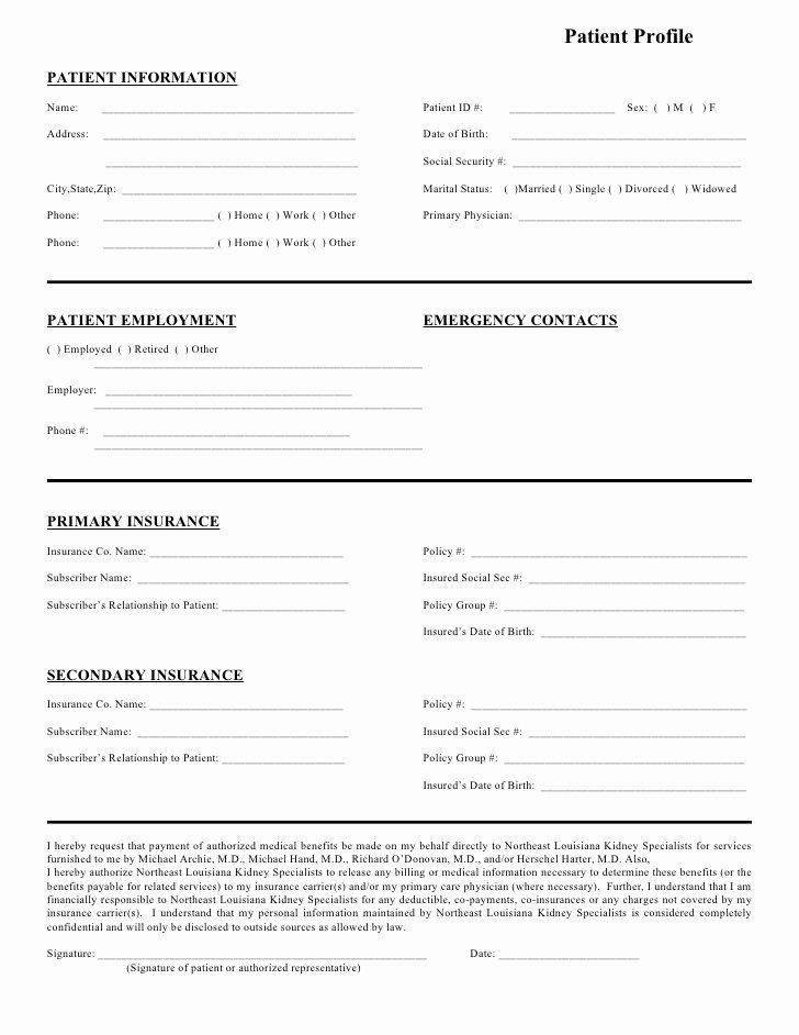 Patient Information form Template Inspirational northeast Louisiana Kidney Specialists Patient Profile form