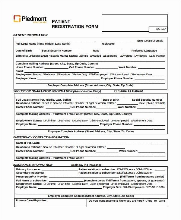 Patient Information form Template New 9 Patient Registration form Templates