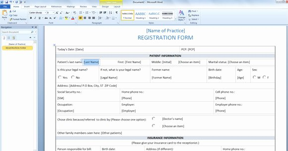 Patient Information form Template New Patient Registration form Template for Word 2013