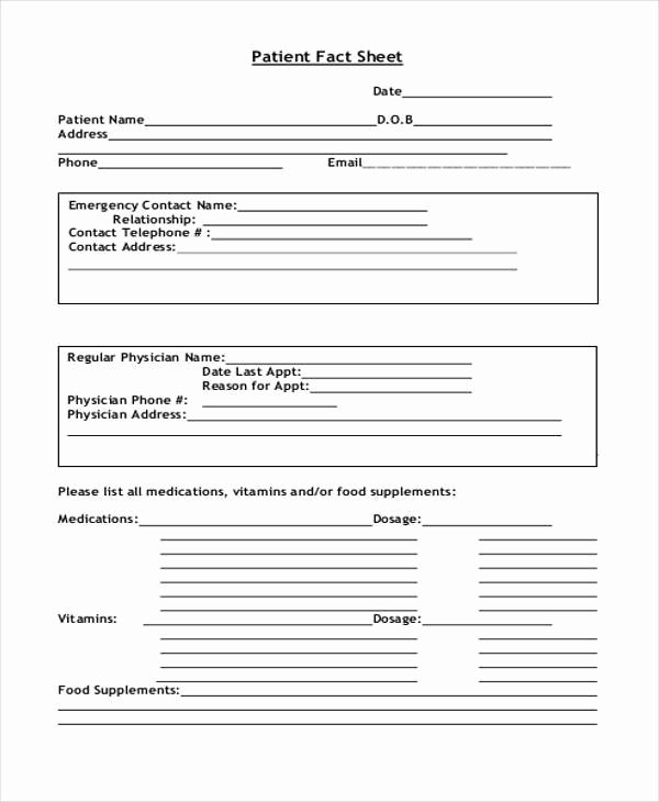 Patient Information Template Beautiful 45 Printable Sheet Samples & Templates Pdf Doc