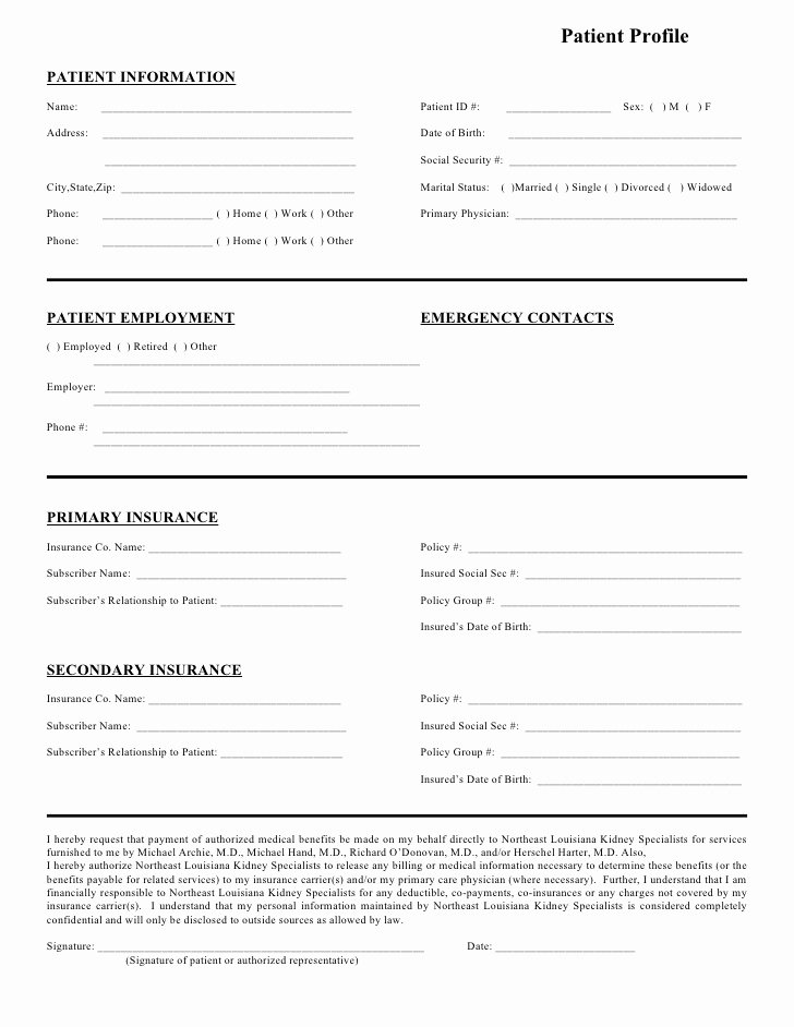 Patient Information Template Fresh northeast Louisiana Kidney Specialists Patient Profile form
