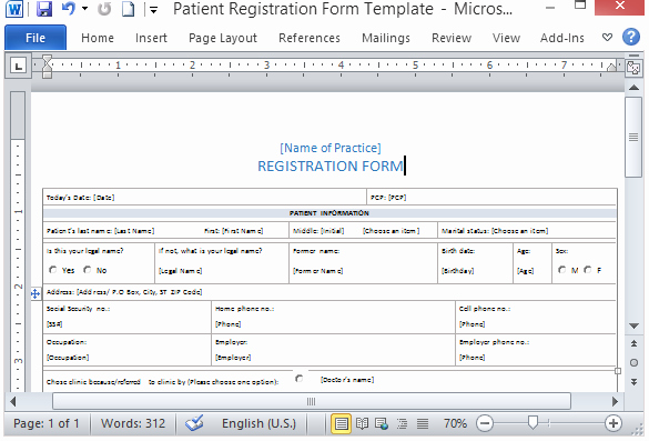 Patient Information Template New Free Patient Registration form Template