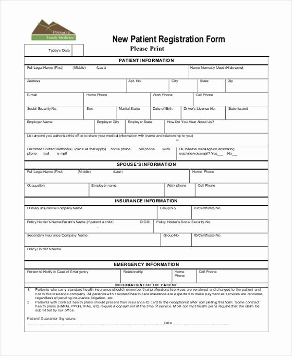 Patient Information Template New Registration form Templates
