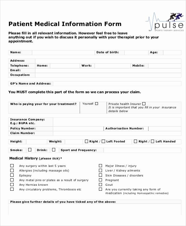 Patient Information Template Unique Sample Medical form