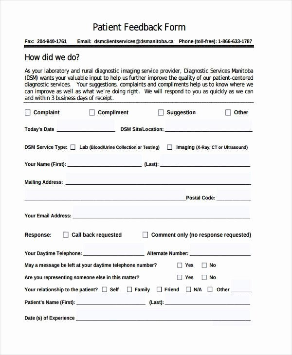 Patient Survey form Beautiful 7 Patient Feedback form Samples Free Sample Example