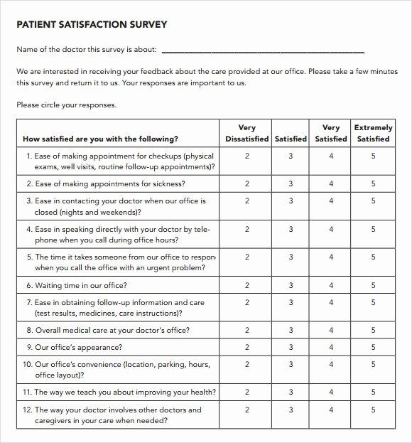 Patient Survey form Best Of Patient Satisfaction Survey 9 Download Free Documents
