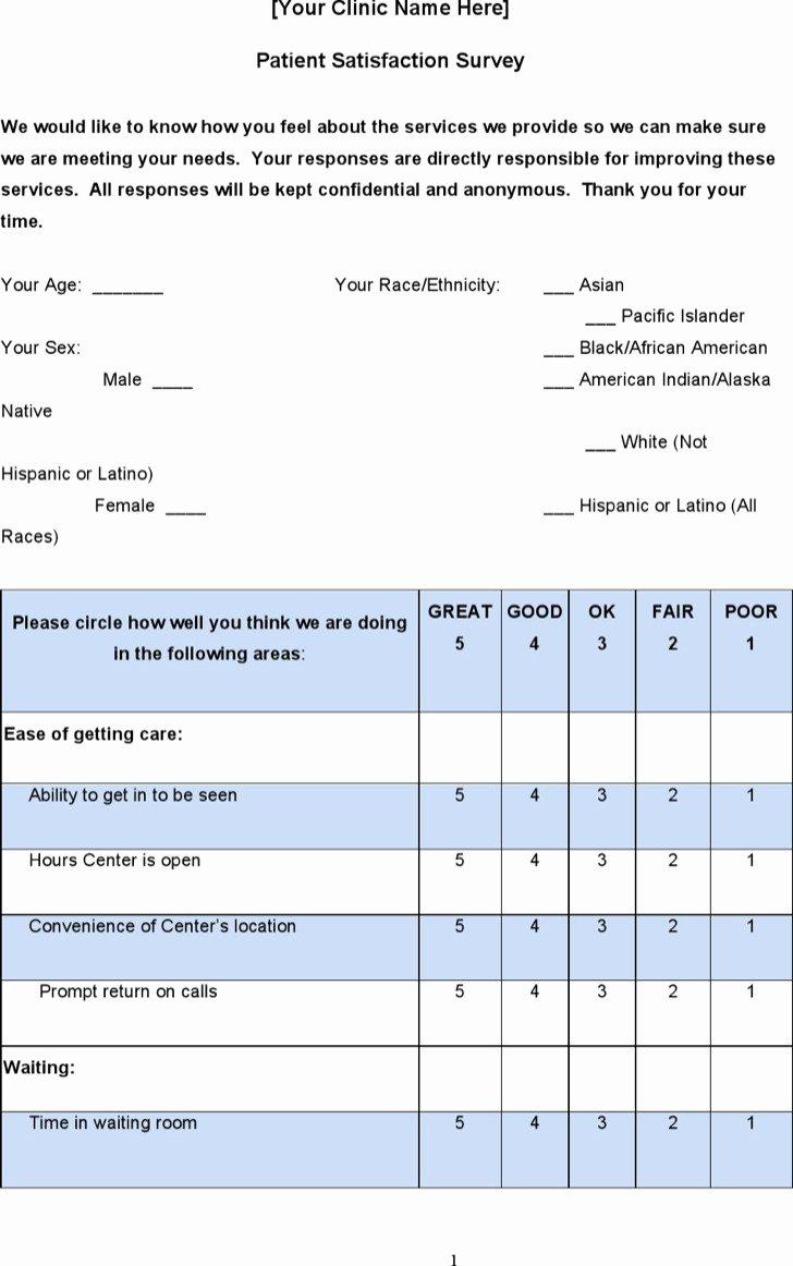 Patient Survey form Inspirational 29 Of Patient Satisfaction Survey form Template