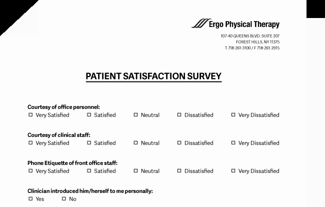 Patient Survey form Inspirational Ergo Physical therapy forest Hills Queens Patient S Center