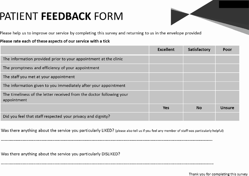 Patient Survey form Luxury Patient Feedback form for Virtual Clinic