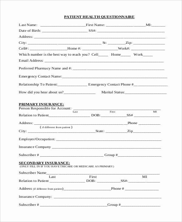 Patient Survey form Unique Pin Health Questionnaire On Pinterest