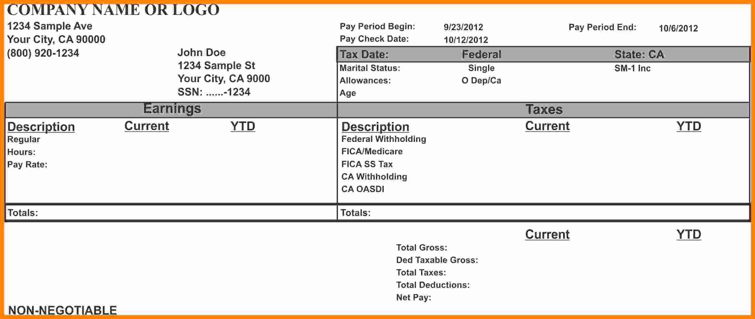 Pay Stub Template Word Awesome 8 Pay Stub Template Microsoft Word