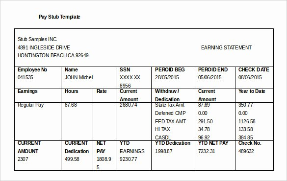 Pay Stub Template Word Lovely 24 Pay Stub Templates Samples Examples & formats