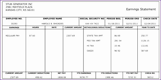 Pay Stub Template Word Luxury 10 Payroll Check Template Excel Exceltemplates