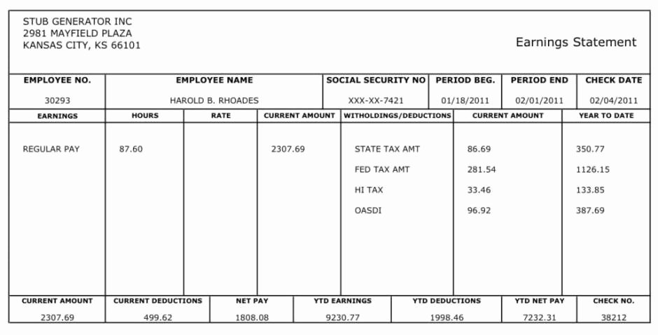 Pay Stub Template Word New 10 Pay Stub Templates Word Excel Pdf formats