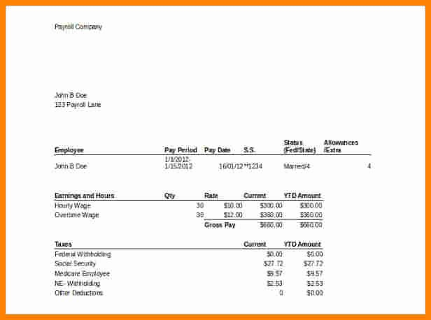 Pay Stub Template Word New 8 Template for Pay Stub Microsoft Word
