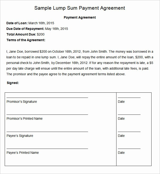 Payment Arrangement Template Luxury Payment Plan Agreement Template 12 Free Word Pdf