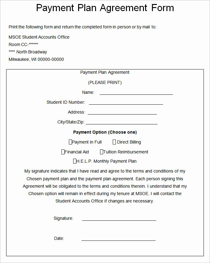 Payment Contract Example New Payment Plan Agreement Template – 21 Free Word Pdf