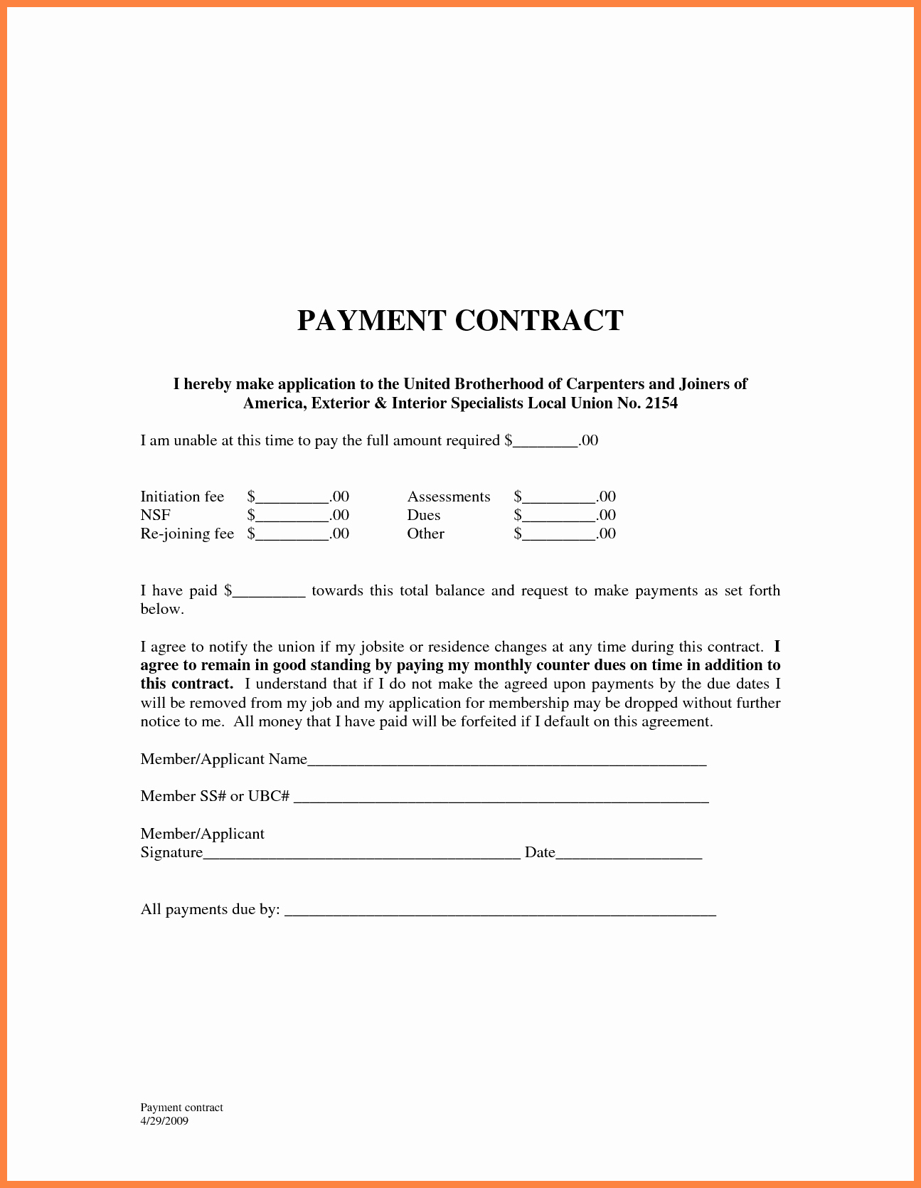 Payment Installment Agreement Template Awesome 5 Payment Agreement Template