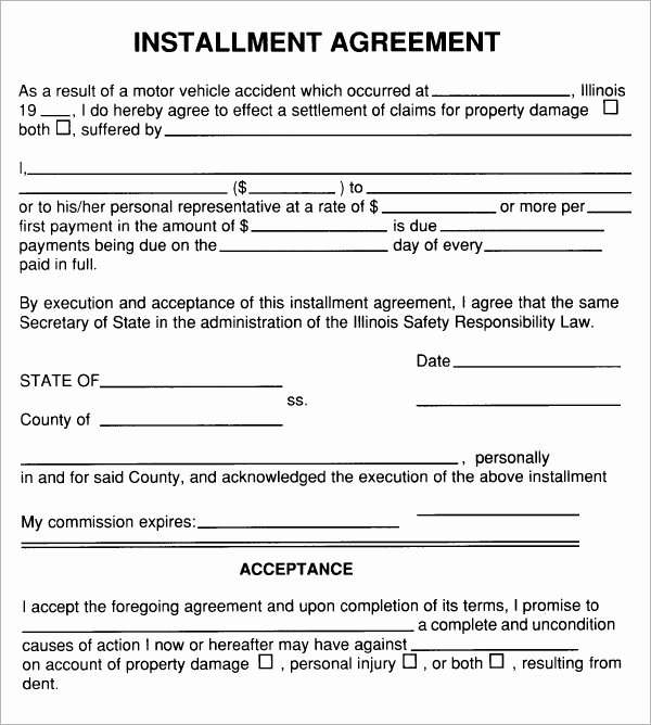 Payment Plan Agreement Inspirational Installment Agreement 5 Free Pdf Download