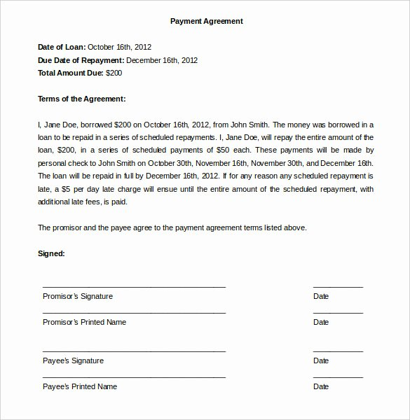Payment Plan Agreement Lovely Payment Plan Agreement Template 12 Free Word Pdf