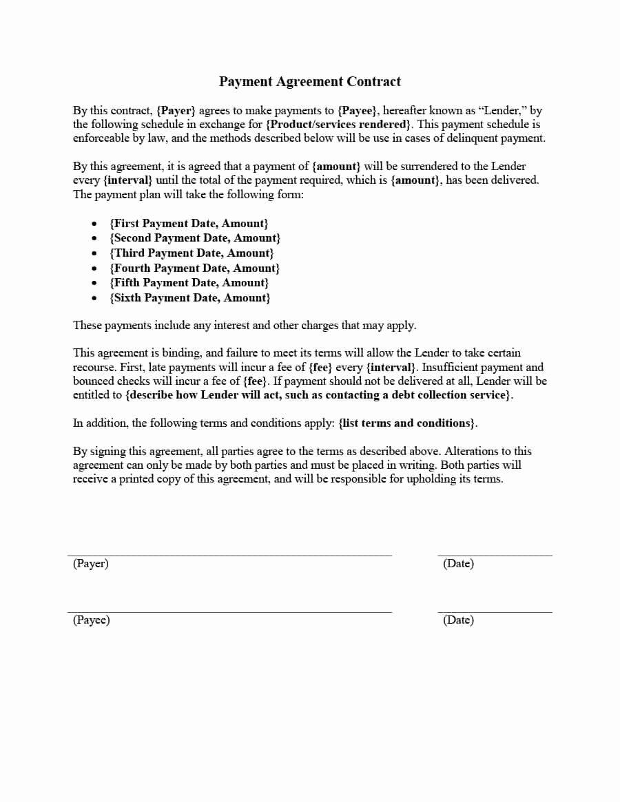 Payment Plan Agreement Template Beautiful Payment Agreement 40 Templates & Contracts Template Lab