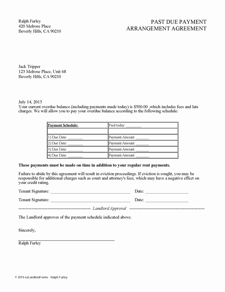 Payment Plan Agreement Template Fresh Past Due Payment Arrangement Agreement